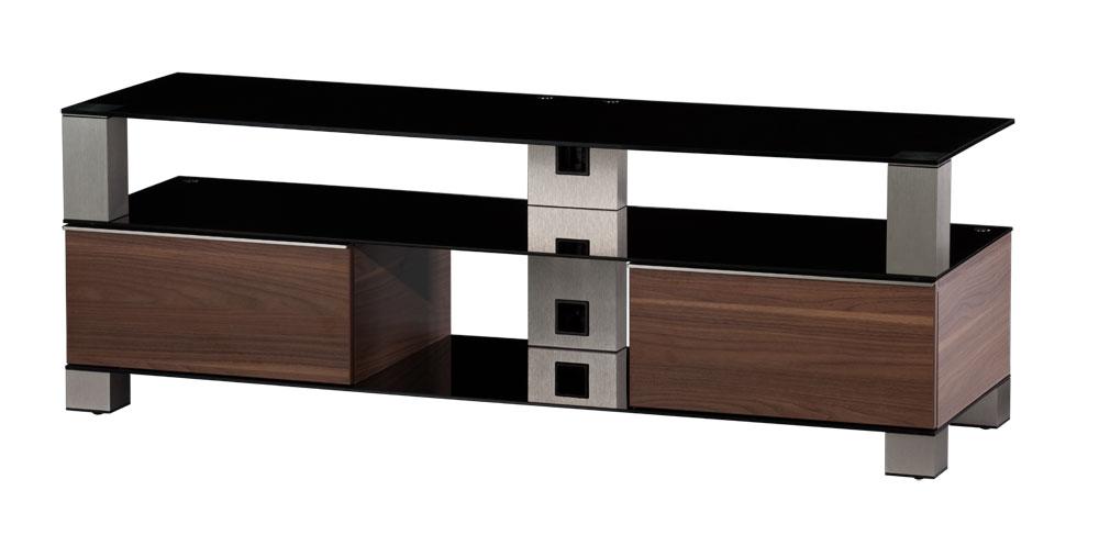 meuble tv sonorous md9140 b inx wnt verre noir noyer. Black Bedroom Furniture Sets. Home Design Ideas