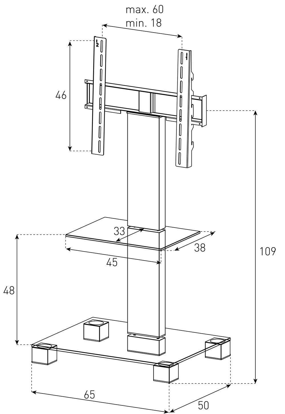 dimension sonorous meuble tv pl2515 b inx verre noir et inox avec support tv - Meuble Tv Dimension