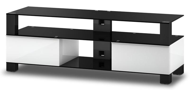 meuble tv sonorous md9140 b inx wht verre noir blanc laqu. Black Bedroom Furniture Sets. Home Design Ideas