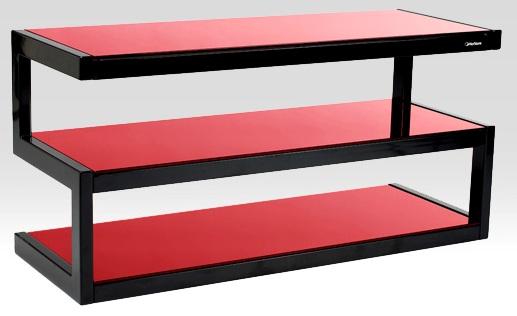 norstone tv m bel schwarz rotglas fernsehm bel tv lowboard sideboard standfuss schweiz online shop. Black Bedroom Furniture Sets. Home Design Ideas
