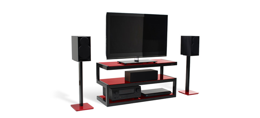 norstone pied enceinte esse noir brillant verre rouge meuble tv hifi suisse. Black Bedroom Furniture Sets. Home Design Ideas